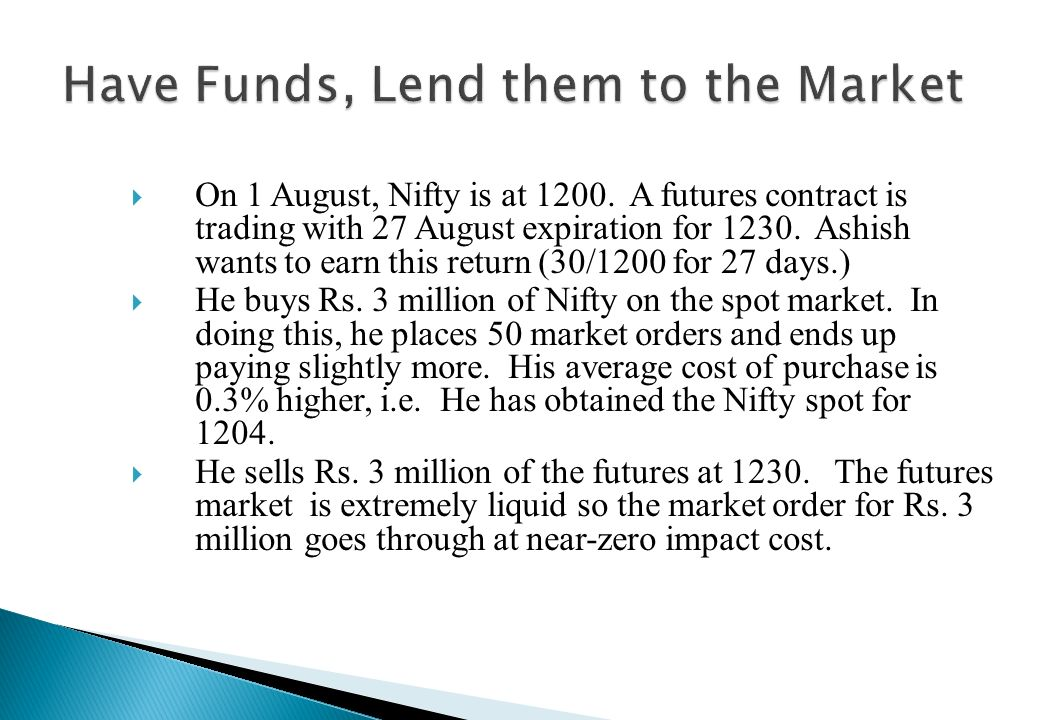 Have Funds, Lend them to the Market