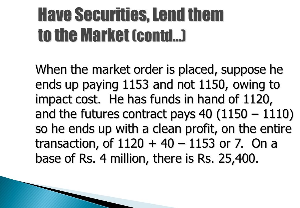 Have Securities, Lend them to the Market (contd…)