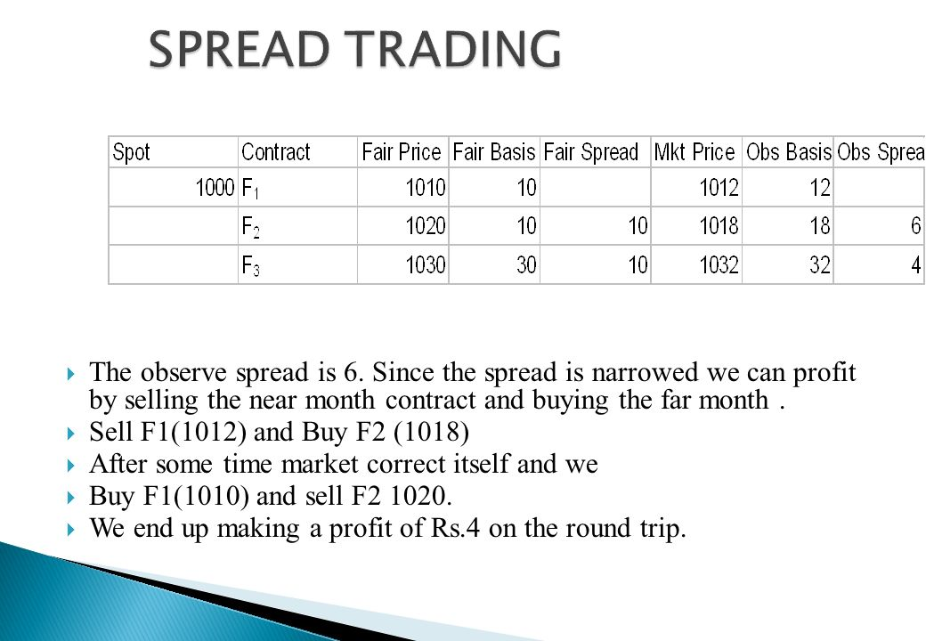 SPREAD TRADING The observe spread is 6. Since the spread is narrowed we can profit by selling the near month contract and buying the far month .