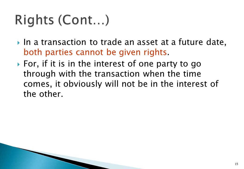 Rights (Cont…) In a transaction to trade an asset at a future date, both parties cannot be given rights.