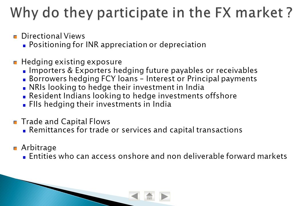 Why do they participate in the FX market