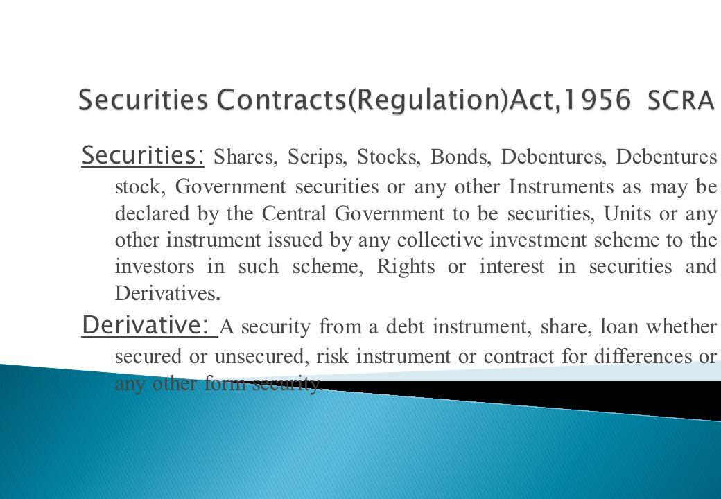 Securities Contracts(Regulation)Act,1956 SCRA