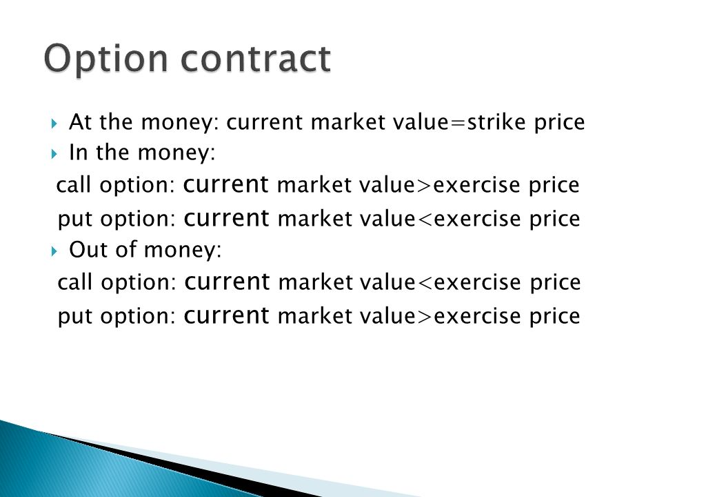 Option contract At the money: current market value=strike price