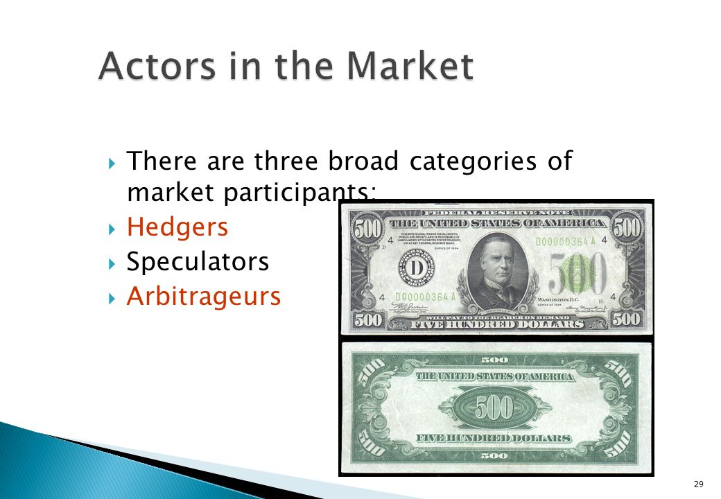 Actors in the Market There are three broad categories of market participants: Hedgers. Speculators.