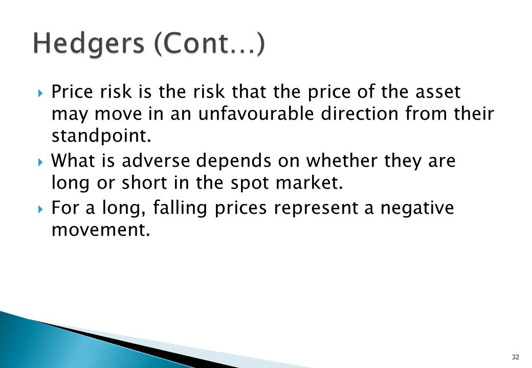 Hedgers (Cont…) Price risk is the risk that the price of the asset may move in an unfavourable direction from their standpoint.