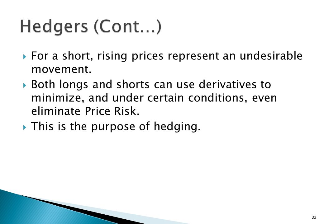 Hedgers (Cont…) For a short, rising prices represent an undesirable movement.