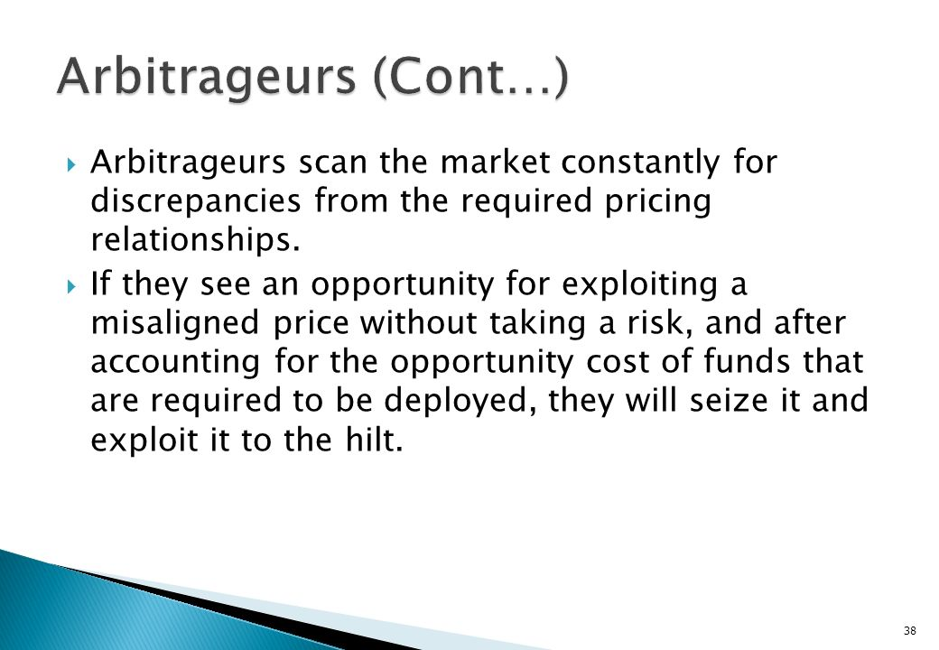 Arbitrageurs (Cont…) Arbitrageurs scan the market constantly for discrepancies from the required pricing relationships.