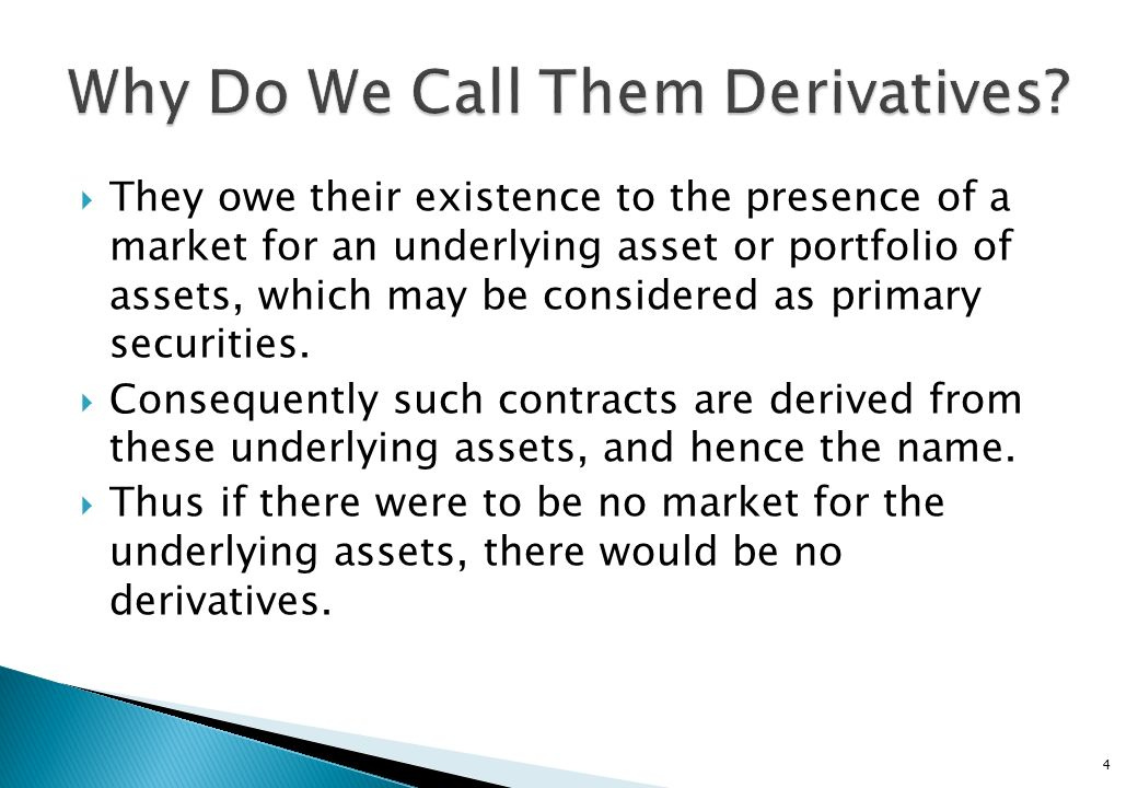 Why Do We Call Them Derivatives