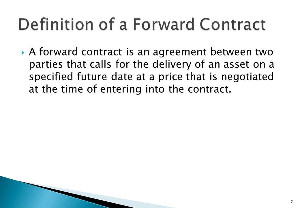 Definition of a Forward Contract