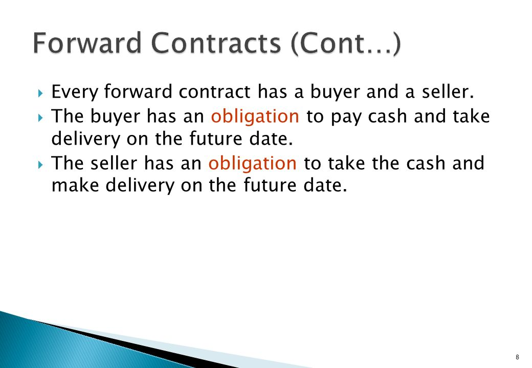 Forward Contracts (Cont…)