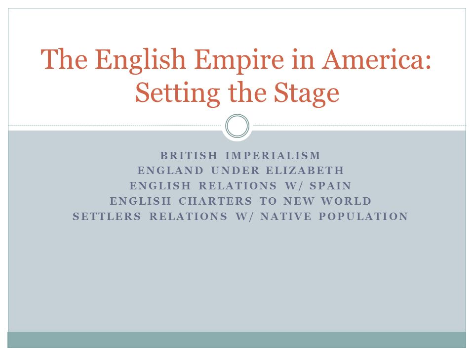 The English Empire in America: Setting the Stage