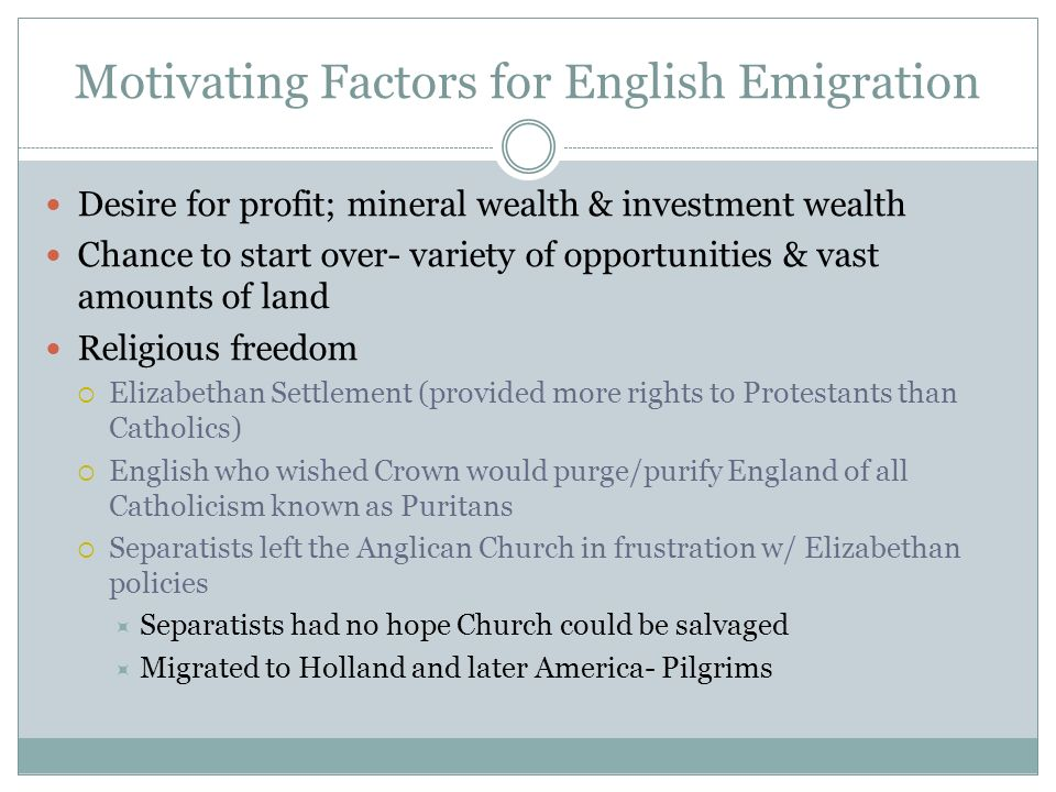 Motivating Factors for English Emigration