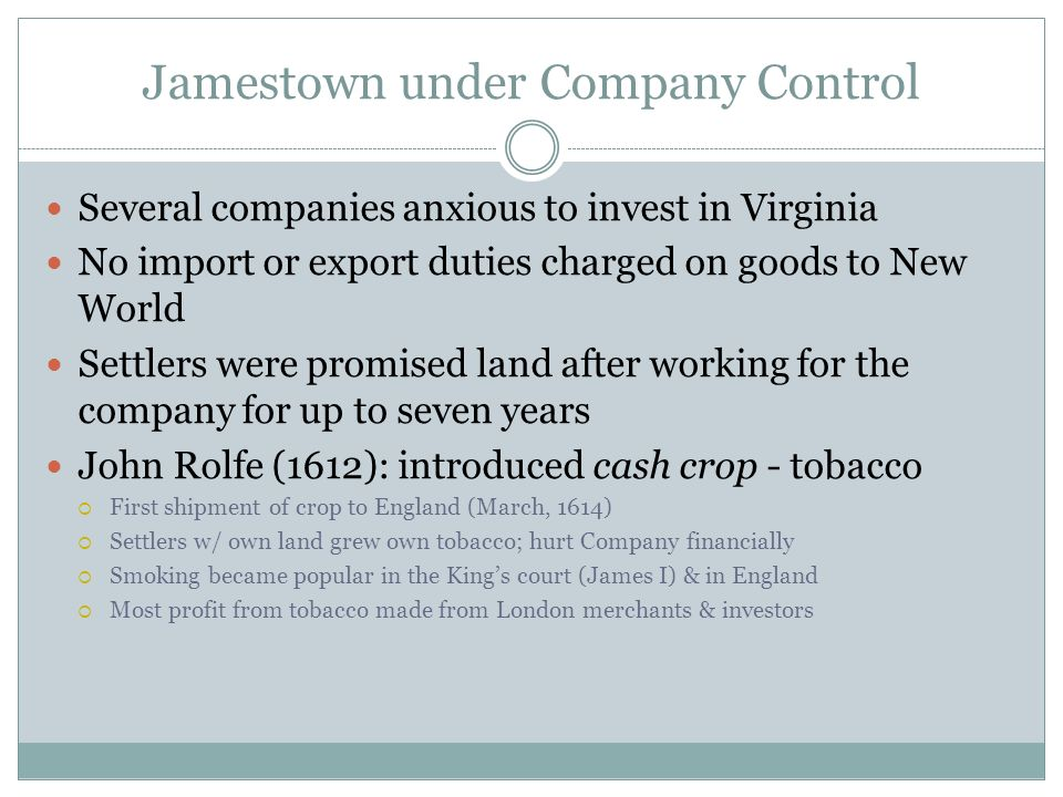 Jamestown under Company Control