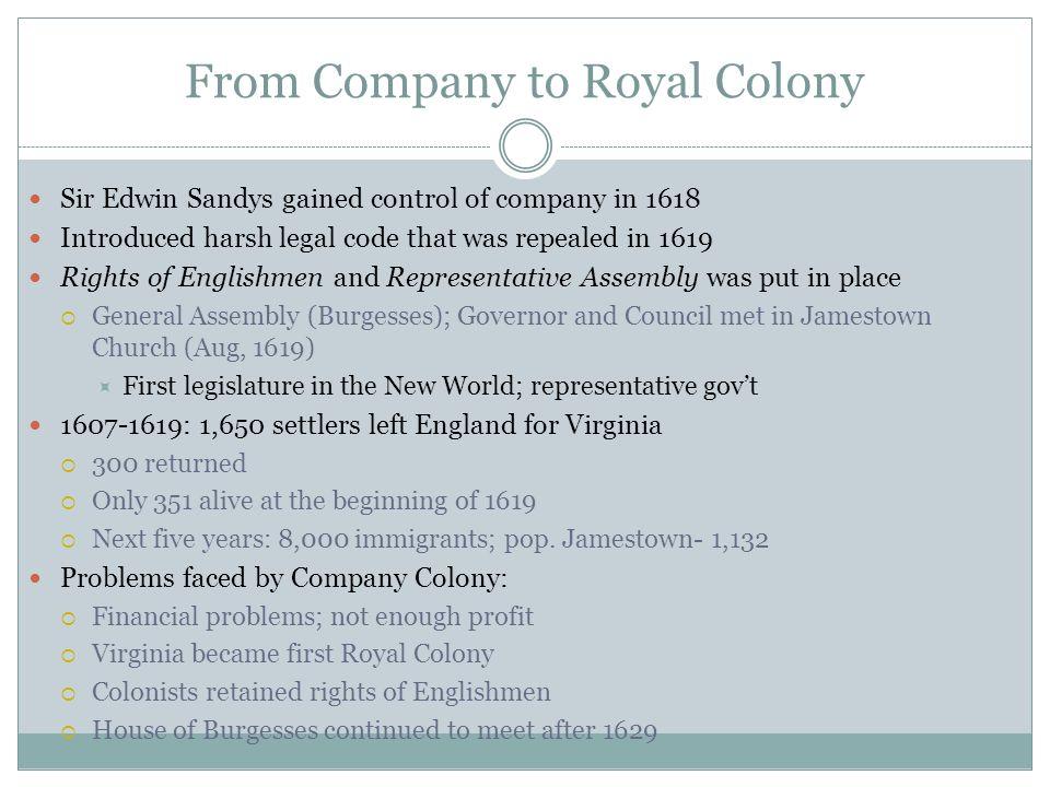 From Company to Royal Colony