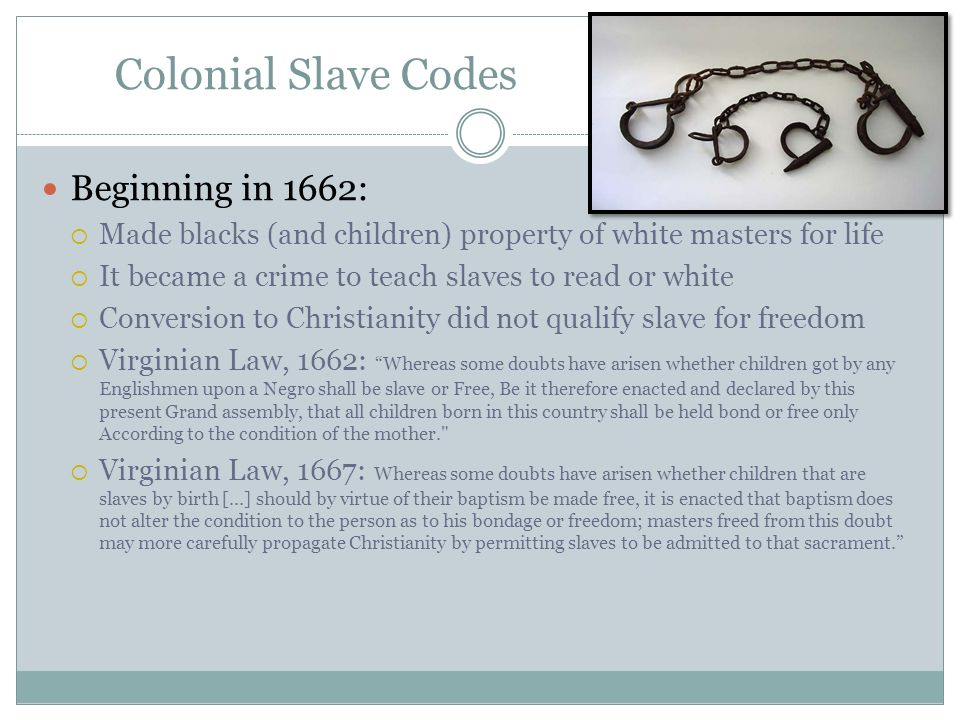 Colonial Slave Codes Beginning in 1662: