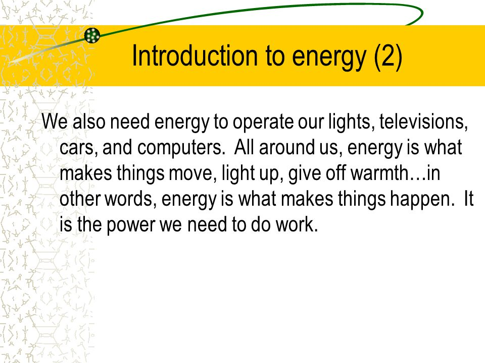 Introduction to energy (2)