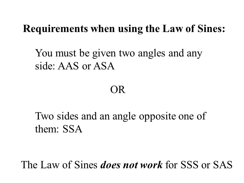 Requirements when using the Law of Sines: