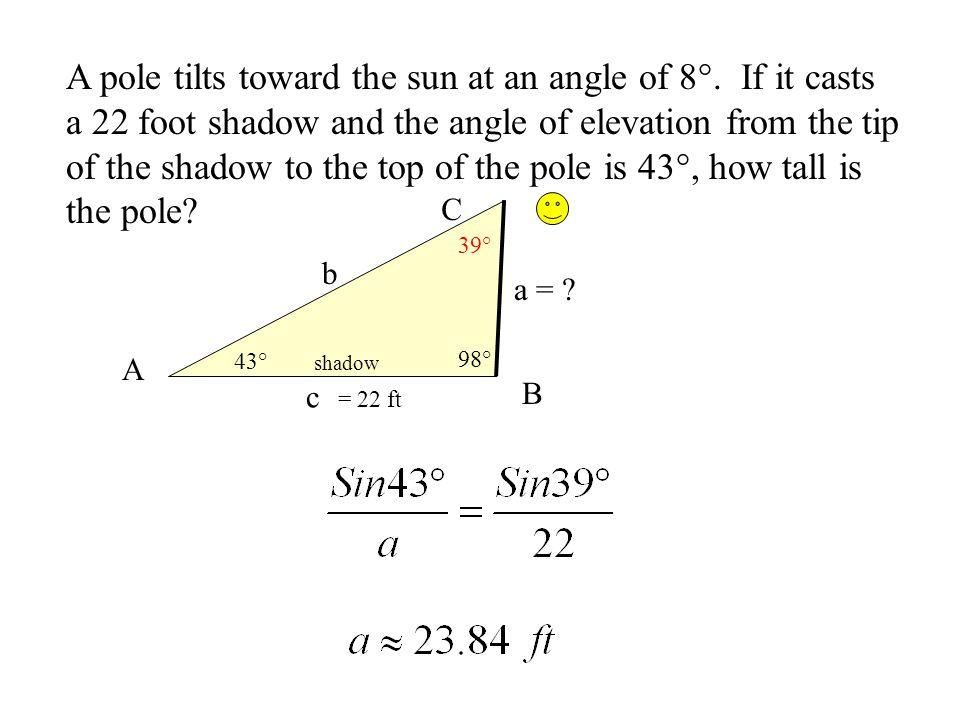 A pole tilts toward the sun at an angle of 8°