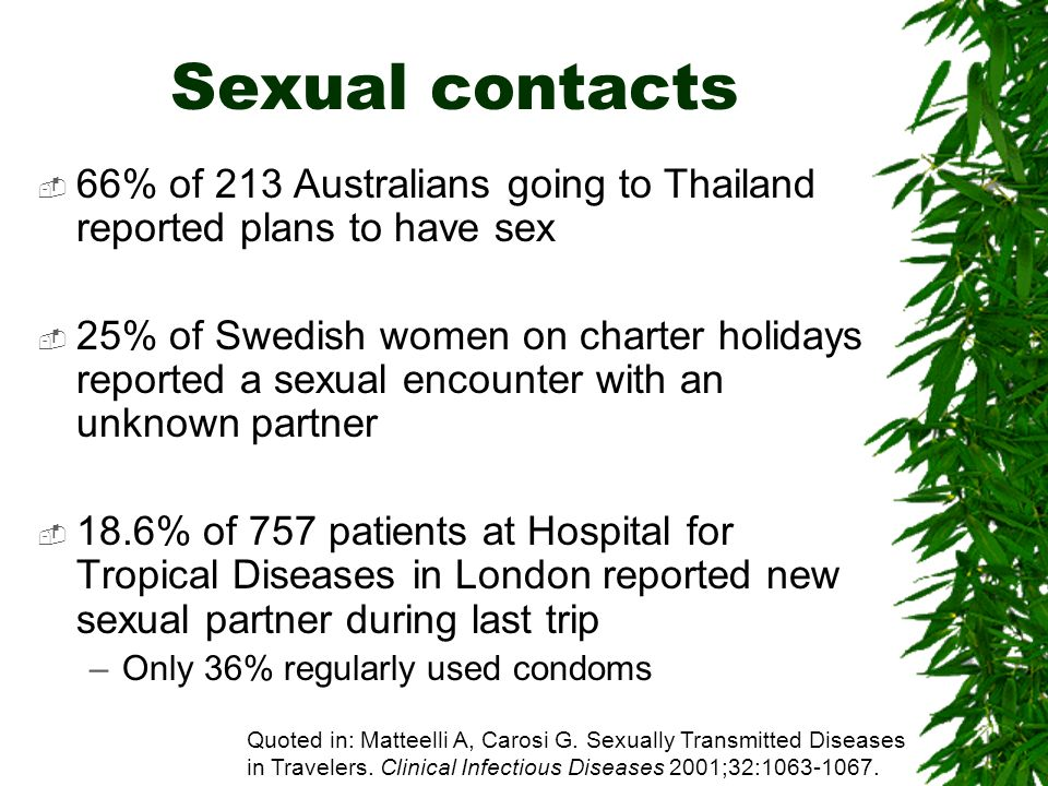 Sexual contacts66% of 213 Australians going to Thailand reported plans to have sex.