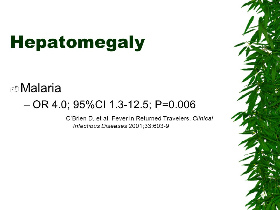 Hepatomegaly Malaria OR 4.0; 95%CI ; P=0.006