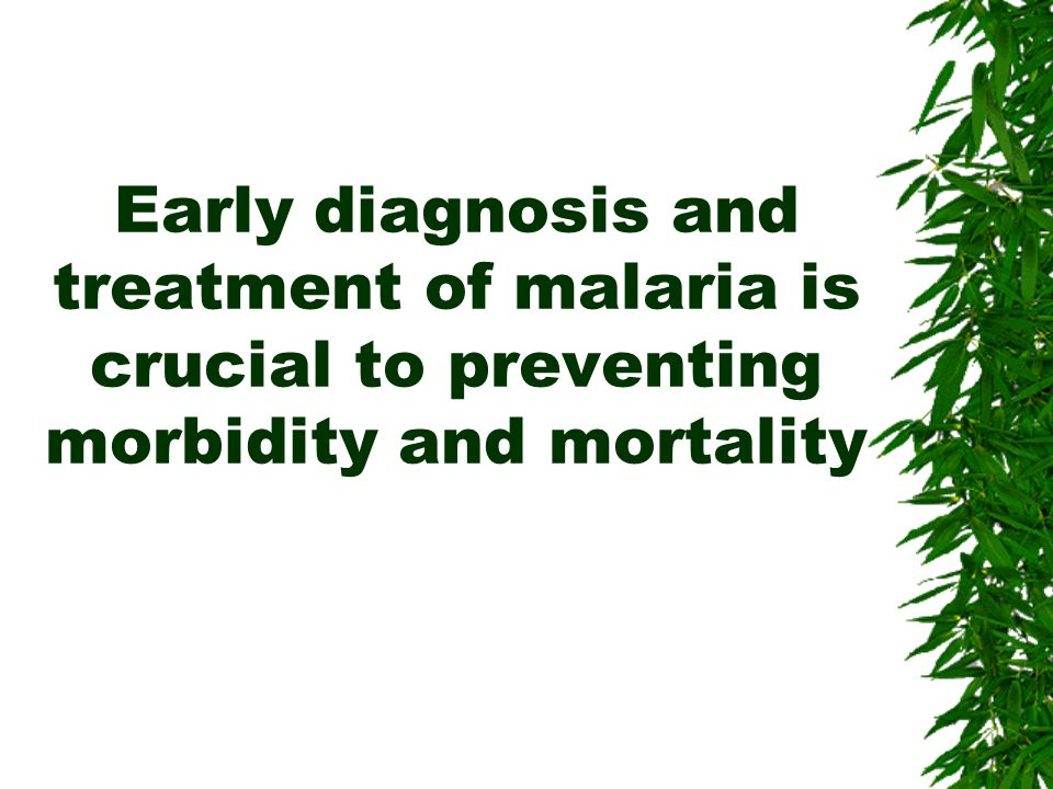 Early diagnosis and treatment of malaria is crucial to preventing morbidity and mortality