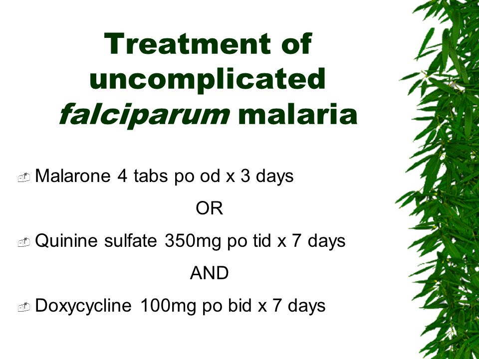Treatment of uncomplicated falciparum malaria