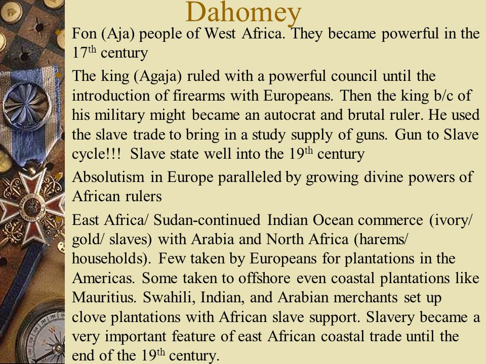 Dahomey Fon (Aja) people of West Africa. They became powerful in the 17th century.