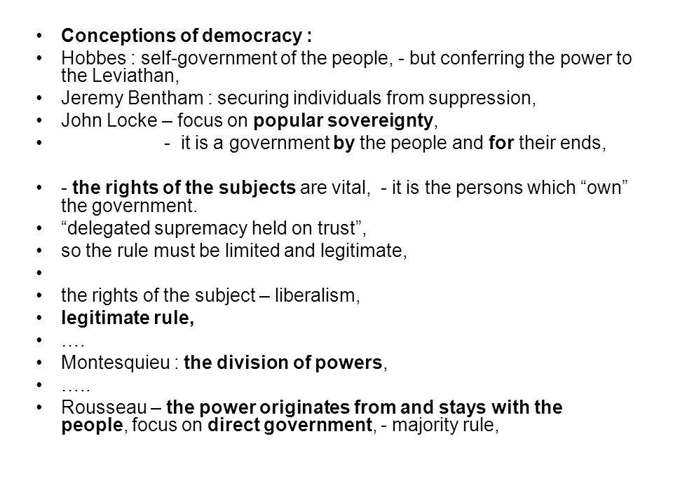 Conceptions of democracy :