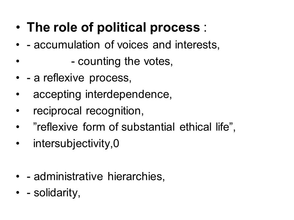 The role of political process :