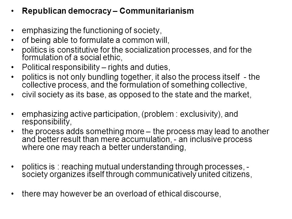 Republican democracy – Communitarianism