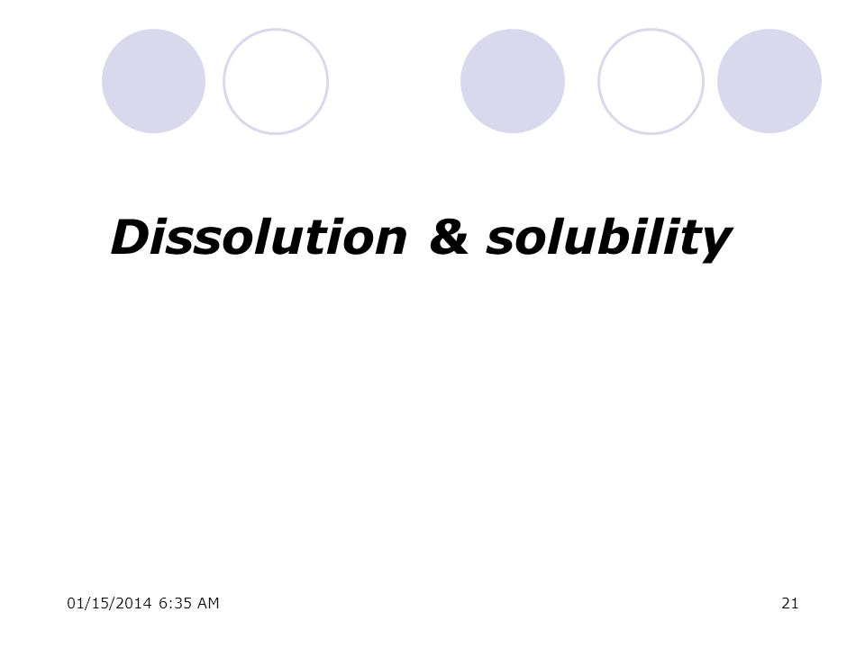 Dissolution & solubility