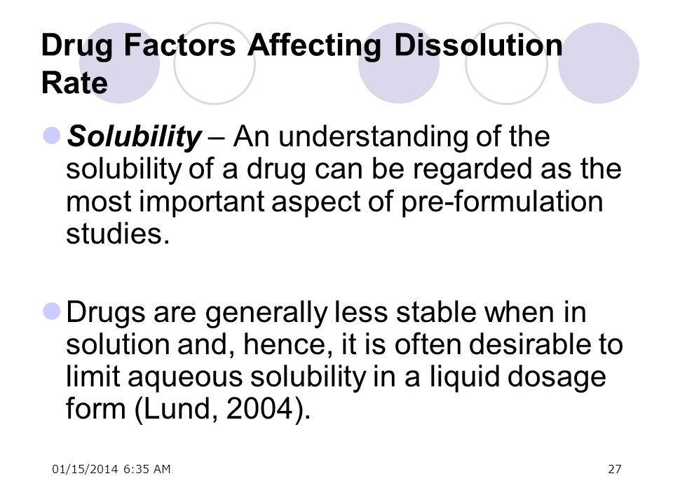 Drug Factors Affecting Dissolution Rate
