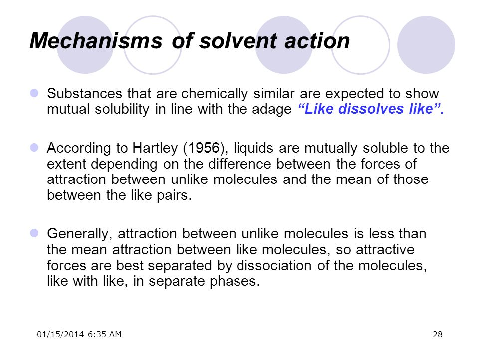 Mechanisms of solvent action