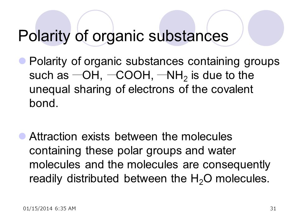 Polarity of organic substances