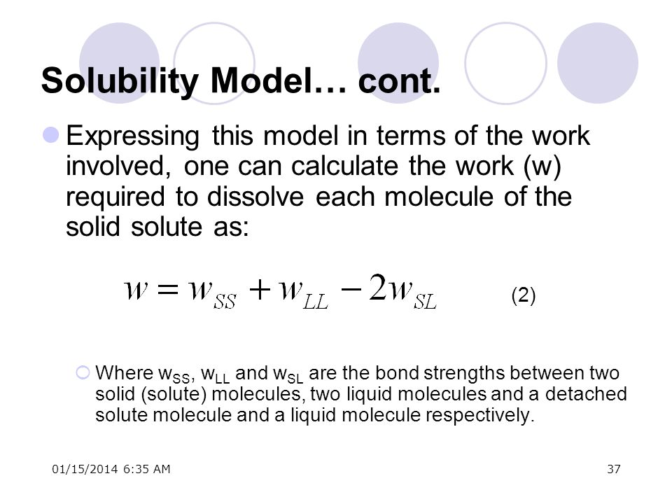 Solubility Model… cont.