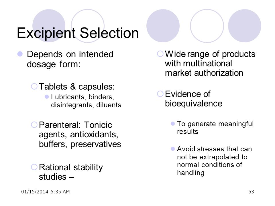 Excipient Selection Depends on intended dosage form: