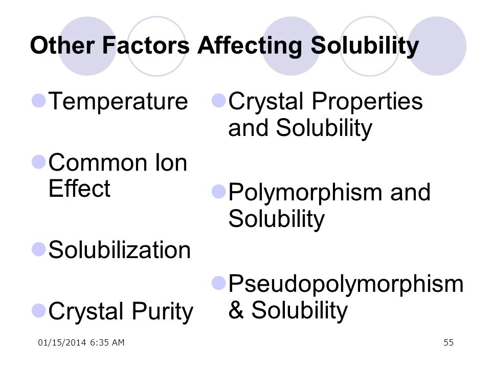 Other Factors Affecting Solubility