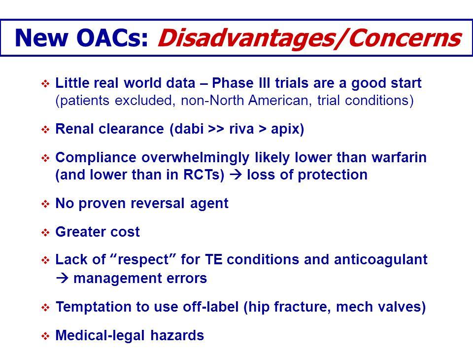 New OACs: Disadvantages/Concerns