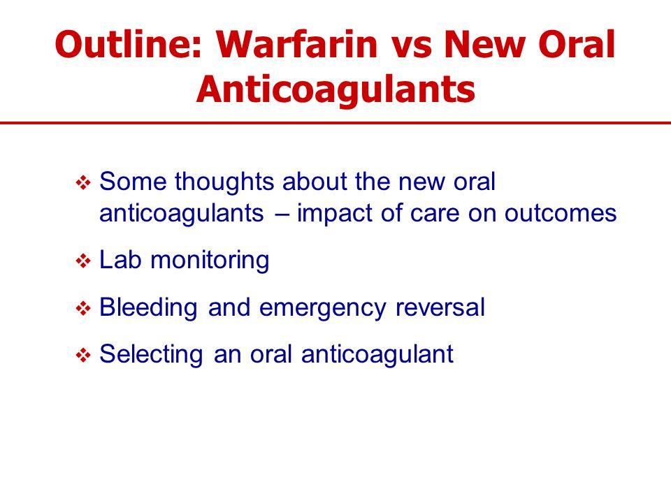 Outline: Warfarin vs New Oral Anticoagulants