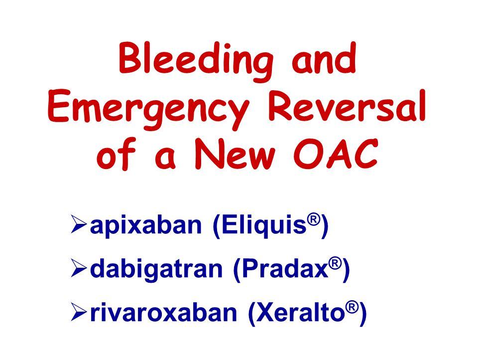 Bleeding and Emergency Reversal of a New OAC