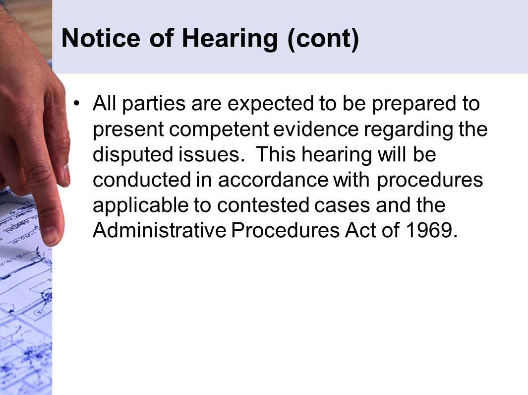 Notice of Hearing (cont)