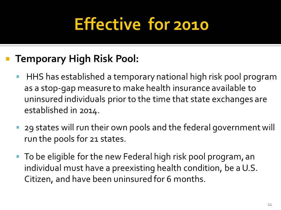 Effective for 2010 Temporary High Risk Pool: