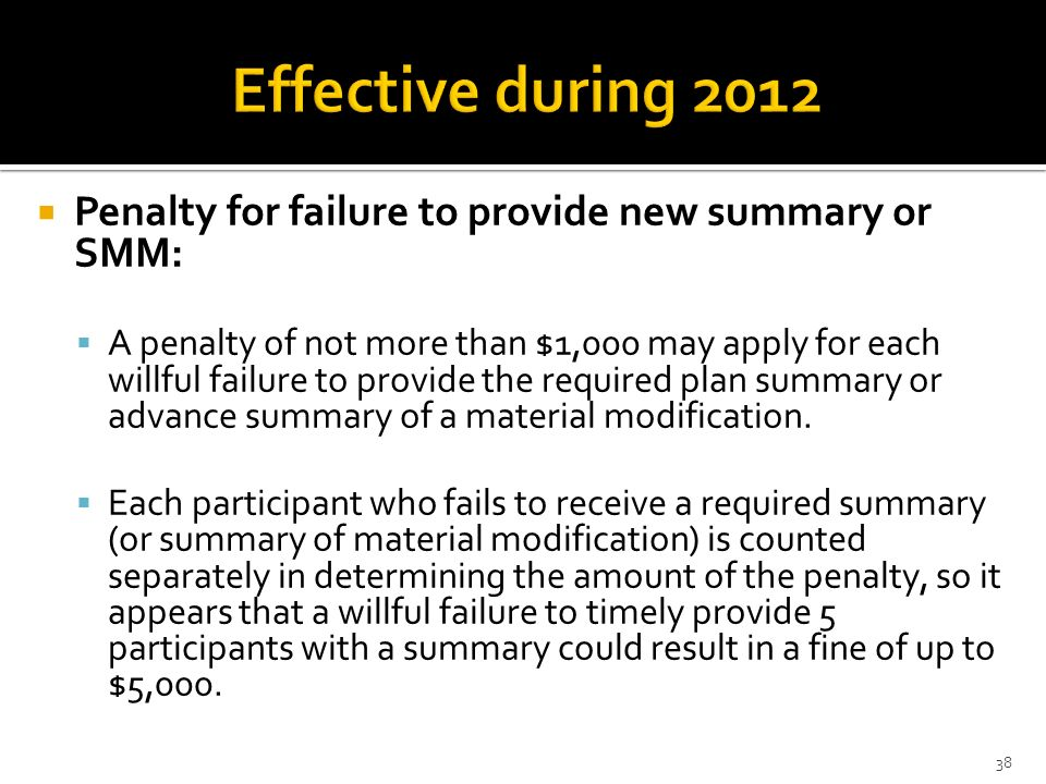 Effective during 2012Penalty for failure to provide new summary or SMM: