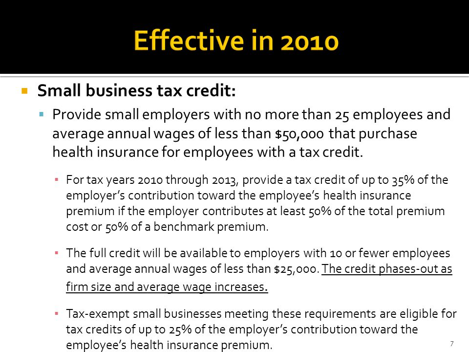 Effective in 2010 Small business tax credit:
