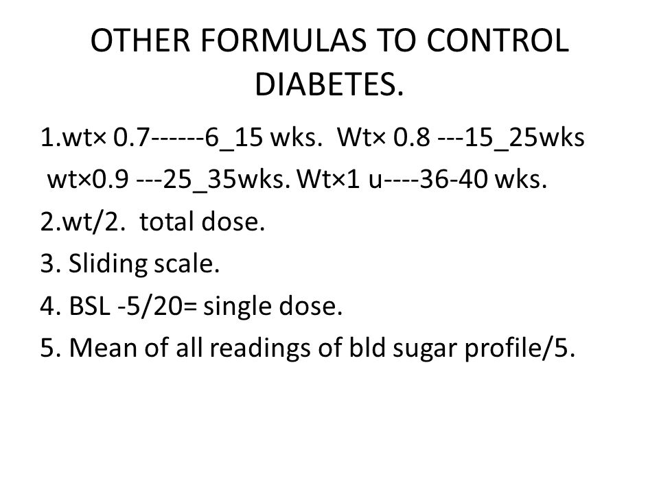 OTHER FORMULAS TO CONTROL DIABETES.