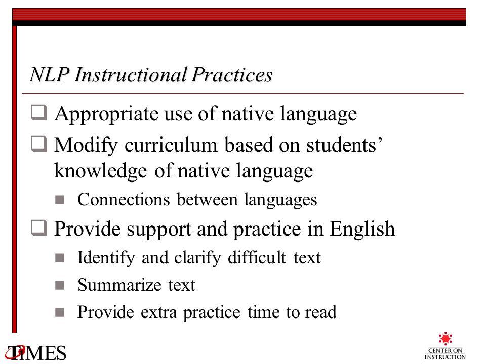 NLP Instructional Practices