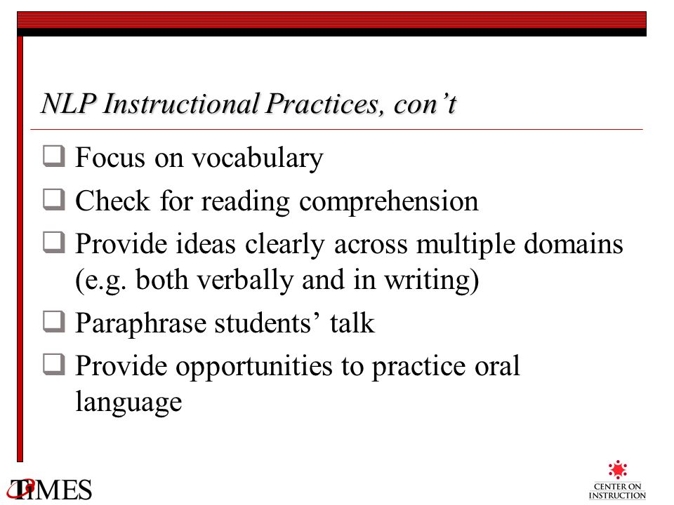 NLP Instructional Practices, con't