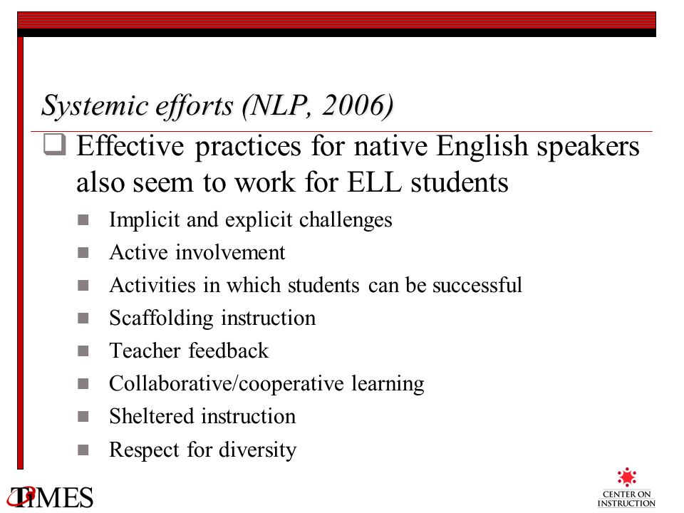 Systemic efforts (NLP, 2006)