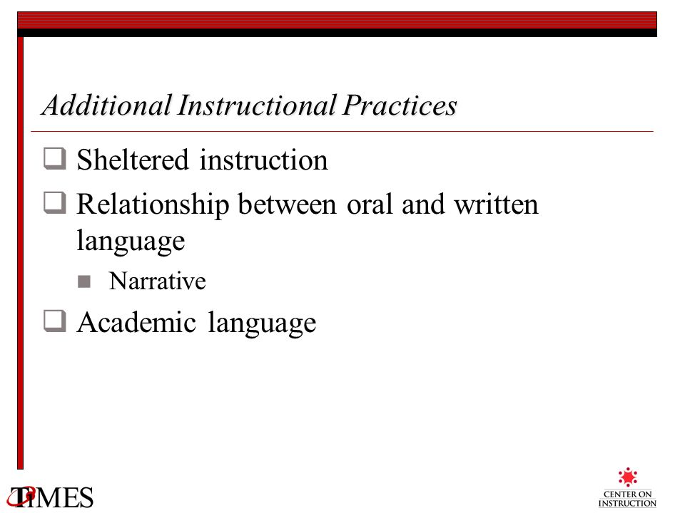 Additional Instructional Practices