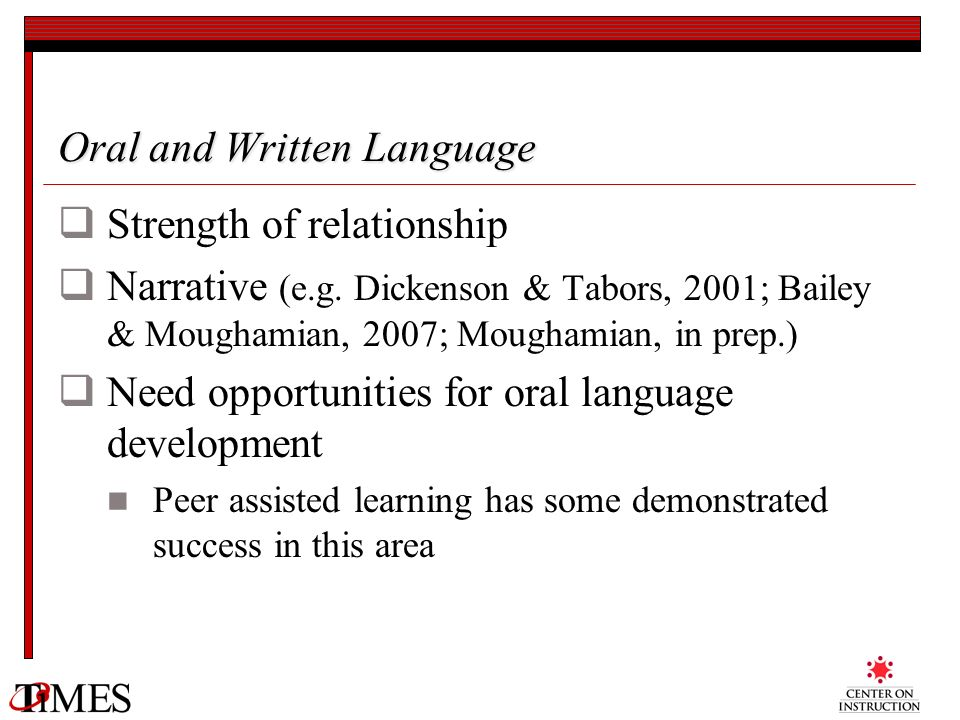 Oral and Written Language